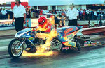 "Drag Bike Rider Larry ""Spiderman"" McBride, the first sub-six second, 240 mph Top Fuel bike, sponsored by Vanson Leathers will appear both Saturday and Sunday September 10th and 11th at Vanson Leathers' Celebrity Open House"