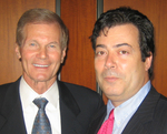 U.S. Senator Bill Nelson congratulates Seth Eisenberg on his election as Co-Chair of the National Writers Union's At-Large Chapter.