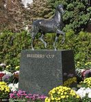 The Breeders' Cup statue at Belmont Park in 2001