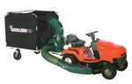 Cyclone Rake Commercial PRO lawn and leaf vacuum. Holds 415 gallons of mulched debris. Features 7 HP OHV engine, Hi-Flow Miracle Impeller for greater vacuum power, and new Easy-Flow unloading system. Folds up flat for fast, easy storage.