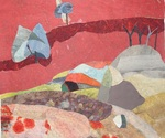Alexandra Corbin's Blood Red Skies is just one visually stunning imaginary landscape at the October Exhibit in Park Slope's Studio/Gallery 64.