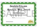 Honolulu Web Awards Certificate