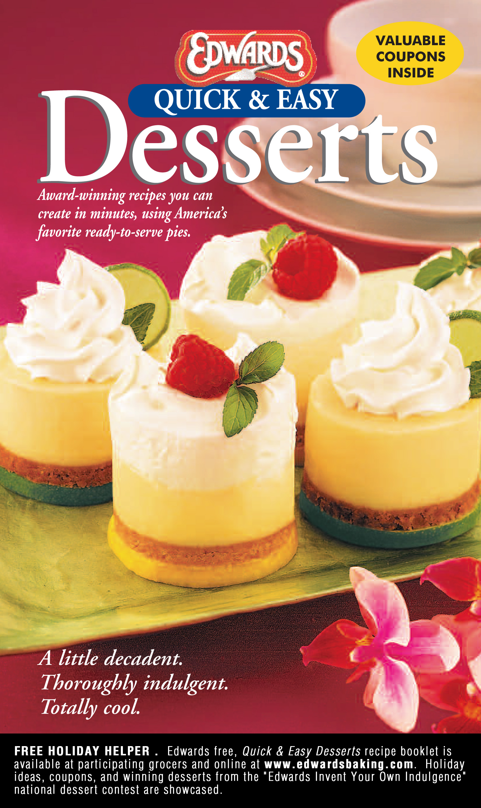 Easy holiday dessert ideas in free edwards recipe booklet for Quick and easy christmas dessert recipes