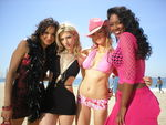 BEFORE: Patricia de Leon, Kathryn Winnick, Marnette Patterson and Kenya Moore play the strippers-turned-beach volleyball stars in 'Cloud 9,' the motion picture written and produced by Brett Hudson, Burt Kearns & Albert S. Ruddy, set for a January 3 DVD release.  (Frozen Pictures)