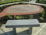 The completed Purple Heart Memorial, located in Harrison, Ohio, is surrounded by pavers and benches inscribed with the names of Purple Heart recipients.