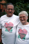 Heart disease patients with their 'High Tech Ticker' shirts before cardiac rehab class