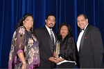 "Selective Staffing, Inc., the Hispanic-owned human resource solutions firm based in New York City, wins ""Supplier of the Year Class 2 Award"" from New York & New Jersey Minority Supplier Development Council.  (L-R) Lynda Ireland, President, New York & New Jersey Minority Supplier Development Council; Miquel and Monica Mancebo, Founders of Selective Staffing, Inc.; Hilton O. Smith, Corporate Vice President, Turner Construction Company and Gala Corporate Co-Chair"