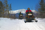 Snowmobiling in the shadow of Mount Katahdin