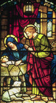 Nativity detail in stained glass.from the US and Allied Forces slide show