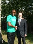 Celebrity ex-footballer John Fashanu with Michael Jackson of EB Marketing
