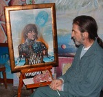 Artist Teekamp with his 1980 Portrait of John