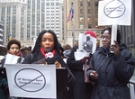 Yaa Asantewa Nzinga, Actress, Educator, Activist, reading poem at boycott press conference.  photo by Donna Lamb