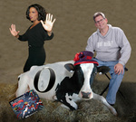"Oprah may not even know Uncle Hyggly is alive, but here's what a meeting of the two might look like in this Photoshop fantasy. The real-life ""Oprah the dairy cow"" from the Gonopolis Dairy Farms is in the foreground. She's the one with the hat."