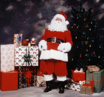 Santa Claus makes everyone happy for the season.