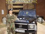 Marco Benz with a Mercedes Benz G-class Cabrio in front of Delta Company 2nd Battalion 19th Infantry Regiment