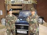 Marco Benz and his Drill Sargeant Staff Sergeant Ortiz  with a Mercedes Benz G-class Cabrio in front of Delta Company 2nd Battalion 19th Infantry Regiment