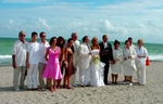 The bride and groom with their families, witnesses and Mayor Mara Guilianti.