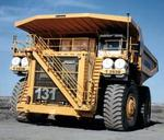 "Only a handful of manufacturers make ""Ultra"" size mining trucks. Pictured is Liebherr's T282B."