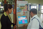 The first user of the Aruba survey and information kiosks