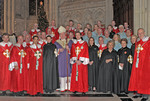 """Their Royal Highnesses with Knights and Dames of the American Delegation of Savoy Orders, in group photograph with His Eminence Knight Grand Cross Edward Cardinal Egan, Archbishop of New York, at the Cathedral of Saint Patrick."""