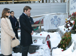 Italian Royal Couple - Royal Highnesses Prince Emmanuel Philibert and Princess Clotilde of Savoy place a memorial wreath at the Victims' Family Center, Ground Zero.