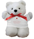 Poetry Bear(tm) is an adorable white teddy with a romantic love poem printed on it's t-shirt!