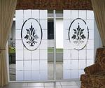 Doral etched glass design on wide sliding glass doors.