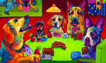 """Kong Juice and Cards,"" 36"" x 60,"" is Ron Burns' high-tech riff on the C.M. Coolidge classic image of poker playing dogs"