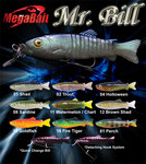 Megabait Mr. Bill Swimbait Fishing Lure Color Choices