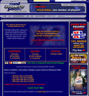 online gambling website super bowl pool odds