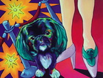 """""""Fashion to the Max"""" is Ron Burns' portrait of Joan River's dog named, """"Dr. Max Rosenberg"""""""