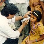 Village eye exam, India