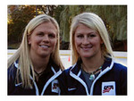 US Olympians Natalie Darwitz and Kelly Stephens model Energy Muse's new amerICANN necklace.