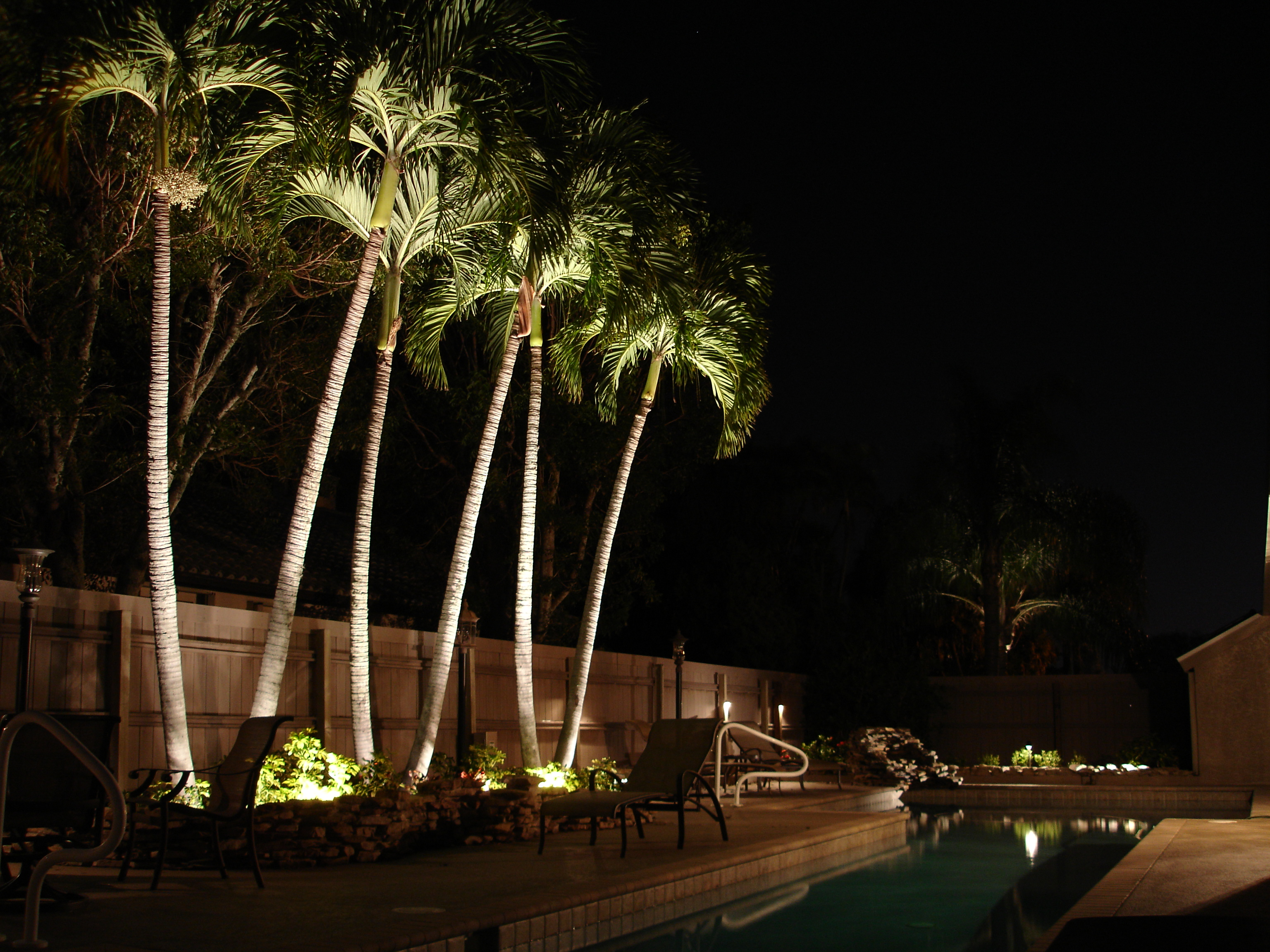 Lighting Of Backyard With Lap Lighting Of Backyard With Lap Pool. Outdoor  Pool Lighting
