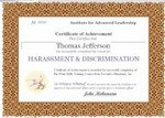 Sexual Harassment & Discrimination Training Certificate of Completion