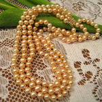 Golden Peach Pearl Necklace