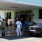The scene outside a hospital in the Dominican Republic.
