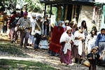 Documentary movie scene depicts Cherokee Citizens on forced march to Indian Territory in Oklahoma in 1838.