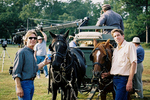 """(L-R) Executive Producer Steven R. Heape and Director Chip Richie steady a team of horses on the set of feature length documentary """"The Trail of Tears: Cherokee Legacy"""" which took two years to produce."""