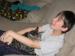 Steven Fiedler, 12-year-old author of Cat Boy, with a friend