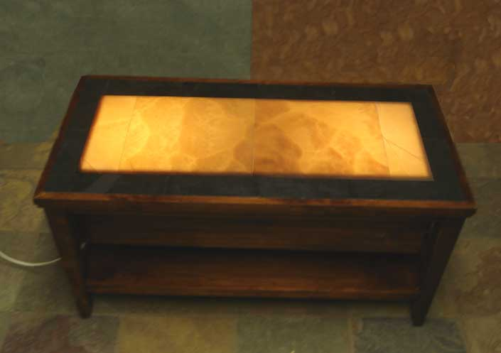Pebbleart Designs Revolutionary New Eco Friendly Onyx And Slate Illuminated Mosaic Coffee Table