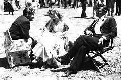 spencer tracy jeanette macdonald and clark gable on the set of san francisco 1936
