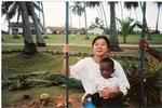 Volunteer takes play-break with child in Ghana