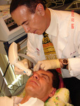 Dr. Pilest performing Eyes by Thermage Treatment