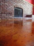 Vibrant colored concrete interior floor.
