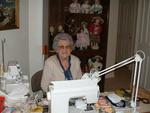 Mavis Cox at sewing desk