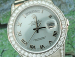 Rolex Men's President with Platinum Diamond Bezel and Ice Blue dial