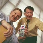 Dave Hawkins (l) and John Hall with RF IC enabled module
