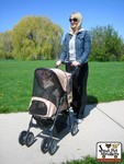 The Jeep® Wrangler Pet Stroller, shown with bug-proof mesh zipped