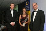 Young Business Person of the Year Lucy Cokes with Julian Crow of First and TV celebrity Doug Richard